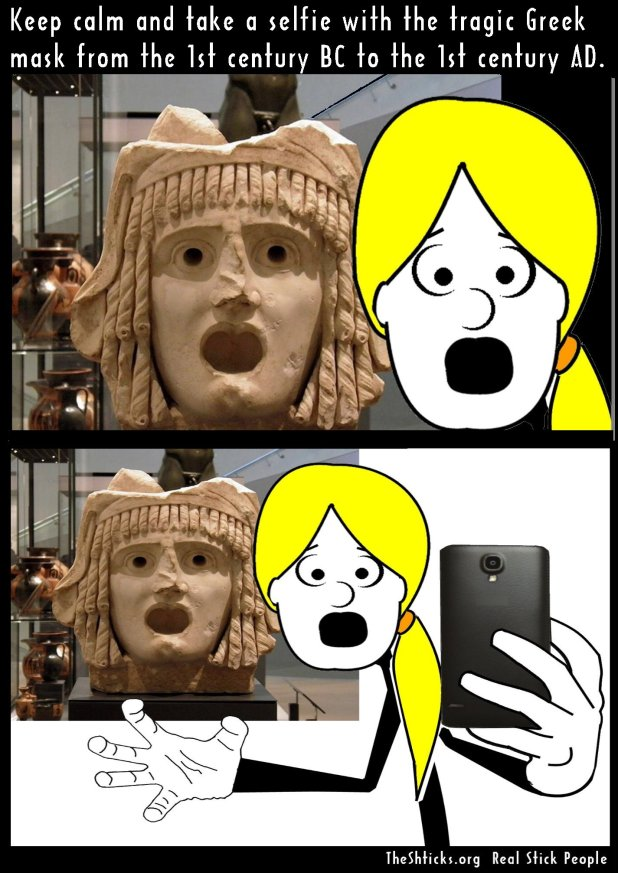 Tragic mask 1st century BC to 1st century AD, Ashmolean Museum better The Shticks